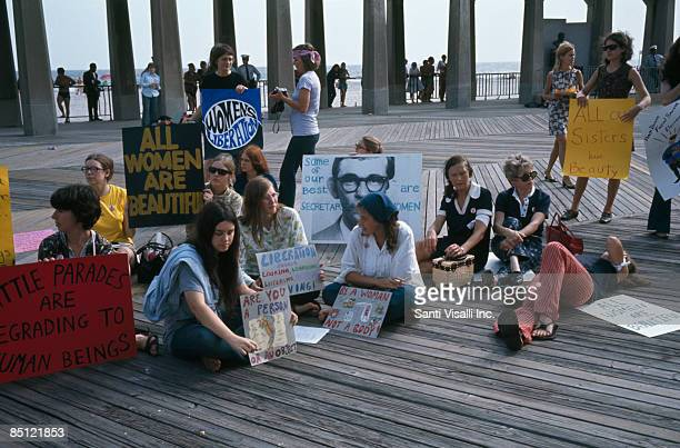 A protest against the Miss America Pageant on the boardwalk at Atlantic City New Jersey 6th September 1969