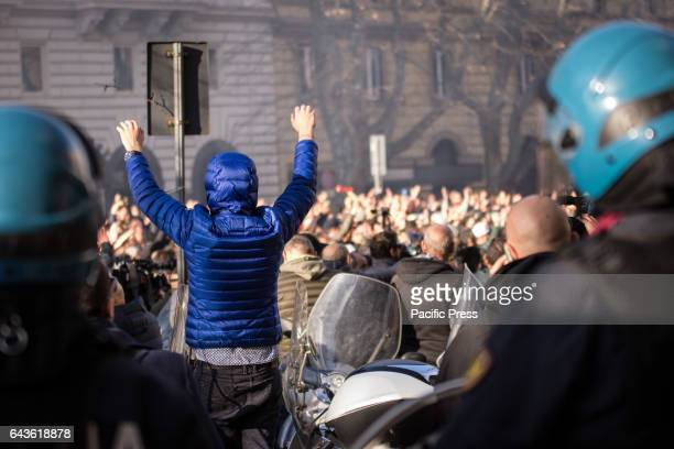 Protest against Uber taxi drivers outside the headquarters of the Democratic Party against the amendment Lanzilotta Milleproroghe decree The protest...