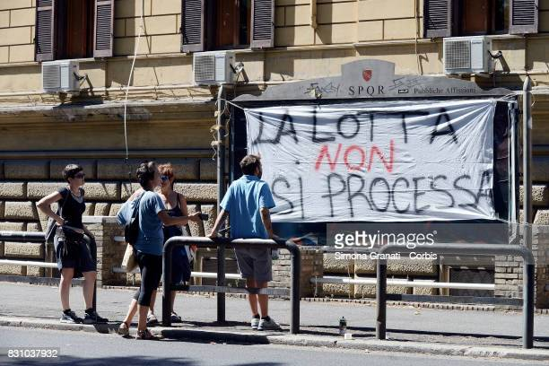 Protest at Regina Coeli's Prison to Ask for Release of Arrested During Eviction of August 10 on August 13 2017 in Rome Italy Many families were...