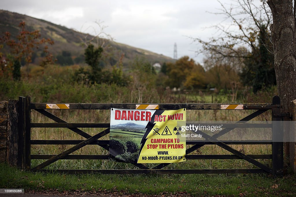 A protest banner against a new power line is displayed on a farm gate overlooking the Mendip Area of Outstanding National Beauty in the village of Loxton on November 6, 2012 in Somerset, England. The National Grid released today its draft Hinkley C to Avonmouth connection route which would involve replacing existing pylons with fewer but larger ones and will also use underground cables in the Mendip Area of Outstanding National Beauty. However campaigners how have been fighting against the new power line, have claimed the proposals will still have a detrimental effect on the landscape.