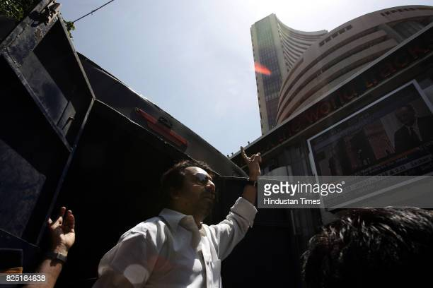 Protest BVS Bharatiya Vidyarthi Sena President Abhijeet Panse demands that the Bombay Stock Exchange be renamed as MUmbai Stock Exchange outside the...
