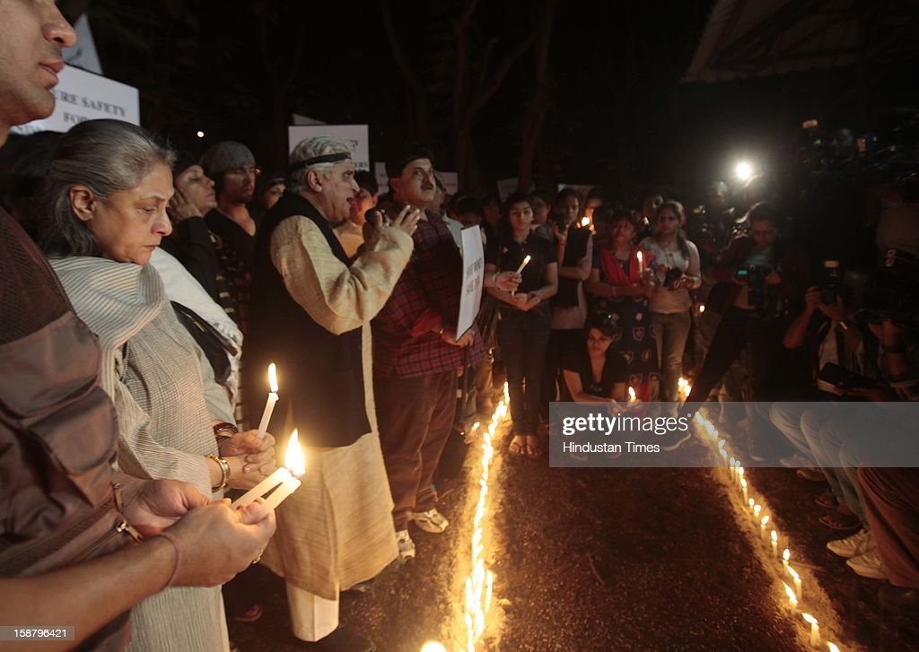 Protest by the Bollywood Film Industry against the Delhi rape incident at Kaifi Azmi Park, Juhuon December 29, 2012 in Mumbai, India.The girl died of injuries in Singapore hospital after brutally gang raped in a moving bus on December 16, in Delhi.