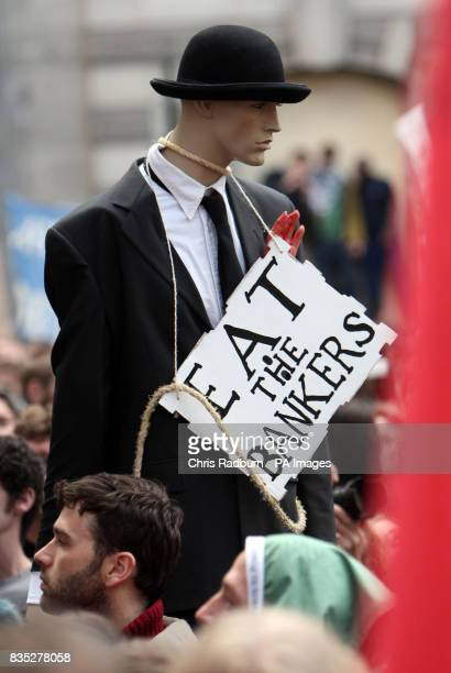A protest dummy outside the Bank of England during the G20 protests through the City of London