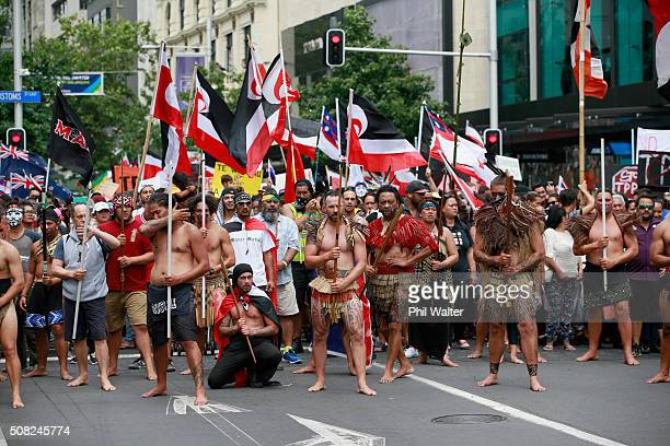 TPP protest hikoi makes its way down Queen Street on February 4 2016 in Auckland New Zealand The signing ceremony marks the end of the TPP...