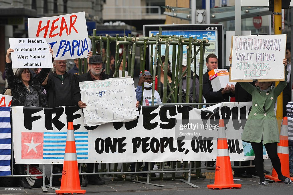A protest is held on the Streets of Auckland City during the Official Opening of the 42nd Pacific Forum at the Cloud on September 7, 2011 in Auckland, New Zealand. The annual gathering of leaders of the pacific nations has attracted heavyweight list of guests this year including United Nations Secretary General Ban Ki-moon, European Commission President Jose Manuel Barroso, the French Foreign Minister and the US Deputy Secretary of State. The forum conclusion coincides with the Opening Ceremony of the Rugby World Cup.