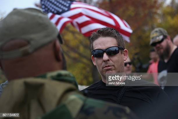 Protest leader David Wright from the socalled Bureau of AmericanIslamic Relations speaks with a counterdemonstrator in front of the Islamic...