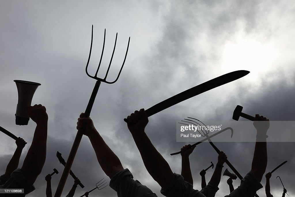 Protest on Cloudy Day : Stock Photo