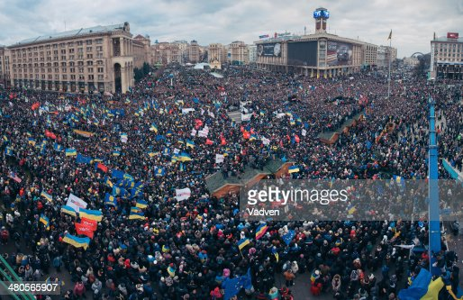 Protest on the Maidan Nezalezhnosti in Kiev : Stock Photo