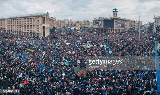 Protest on the Maidan Nezalezhnosti in Kiev : Stock Photo