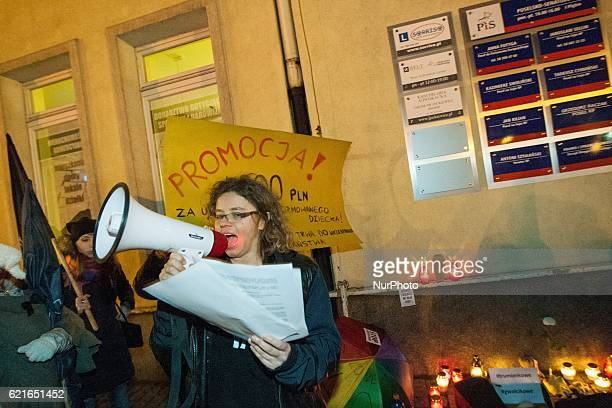 Protest outside the Law and Justice party office in Gdansk on 7 November 2016 against the new prolife bill organized by the feminists organizations...