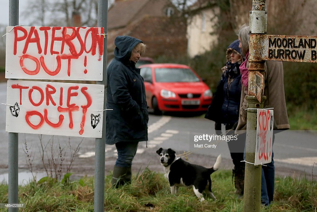 A protest sign is seen following a visit by Environment Secretary Owen Paterson to the Northmoor Pumping Station in Moorland on January 27 2014 near...