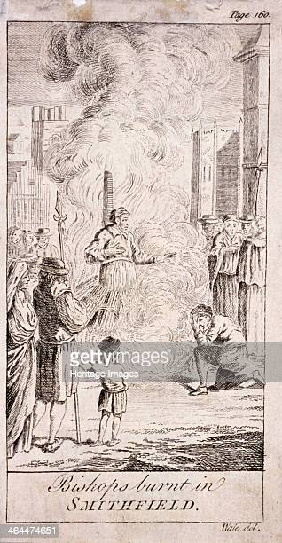 Protestant bishops being burnt at Smithfield during the reign of Mary I in the 16th century