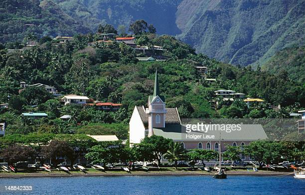 Protestant church and Papeete hillside houses.