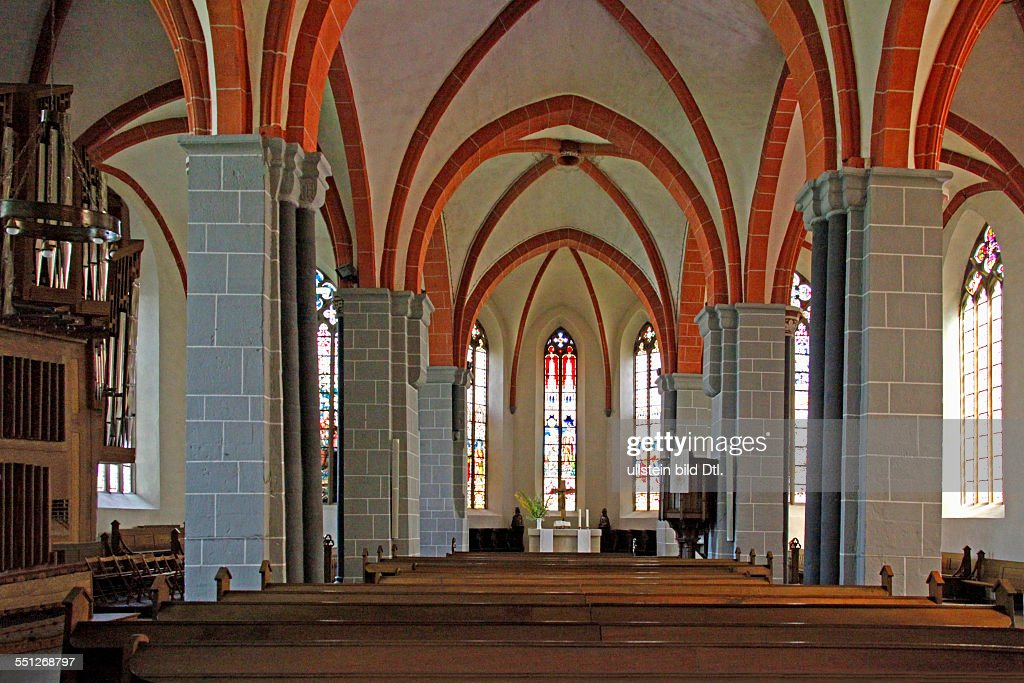 Protestant Old Town Church indoor photograph 1150 basilica was built in Romanesque style 1330 rebuilding in Gothic style Hofgeismar district of...