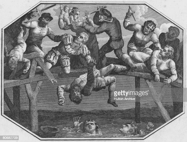 Protestant settlers are massacred by local Catholics on Portadown Bridge over the River Bann in Northern Ireland during the Irish Rebellion 1641