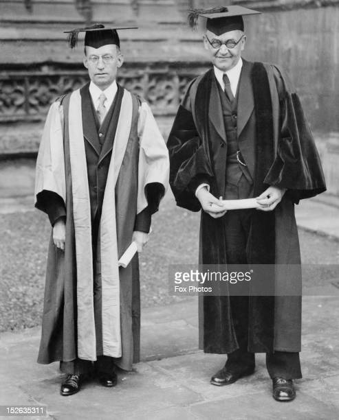 Protestant theologian Professor Karl Barth right and Professor Louis Caxamian at Oxford University where they have been conferred with honorary...