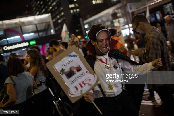 Protestant Vampire Gown of President Michel Temer Protests in front of the Office of the Presidency of the Republic on August 2 2017 in Sao Paulo...