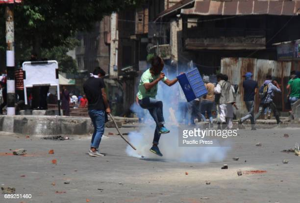 Protester clashes with government forces in Srinagar May 27 2017 Civilian was killed and dozens of others injured in Indiancontrolled Kashmir...