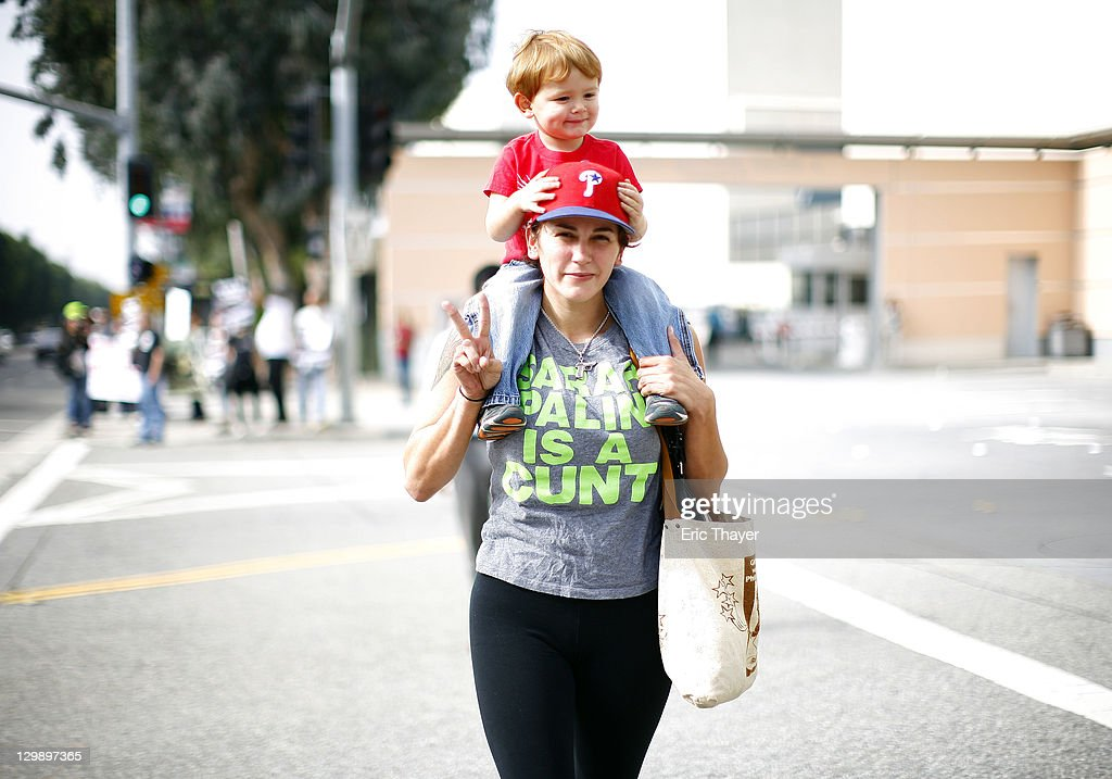 A protester demonstrates at the annual shareholder meeting of News Corp at Fox Studios October 21, 2011 in Century City, California. Protesters are demonstrating against Fox and News Corp's for what they see as one-sided reporting practices.