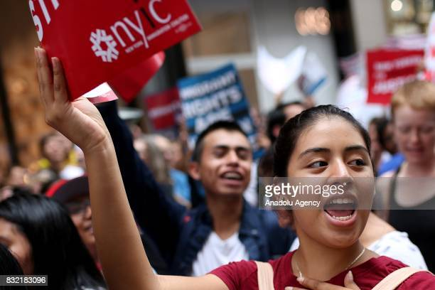 A protester holds a banner during a rally against US President Donald J Trump's potential repealing of Deferred Action for Childhood Arrivals which...