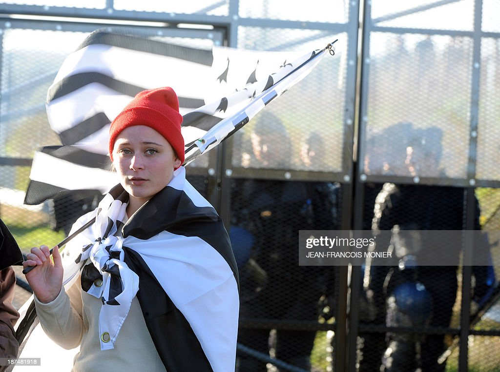A protester holds a flag of French western region Brittany in front of French riot police protecting an 'Ecotax' control portal during a demonstration against jobcuts and against the government's 'Eco-tax', a controversial environmental tax on heavy goods vehicles in Jugon-les-Lacs, western France, on November 9, 2013. The ecotax, aimed at encouraging environmentally friendly commercial transport, imposes new levies on French and foreign vehicles transporting commercial goods weighing over 3.5 tonnes but its implementation has repeatedly been put off.