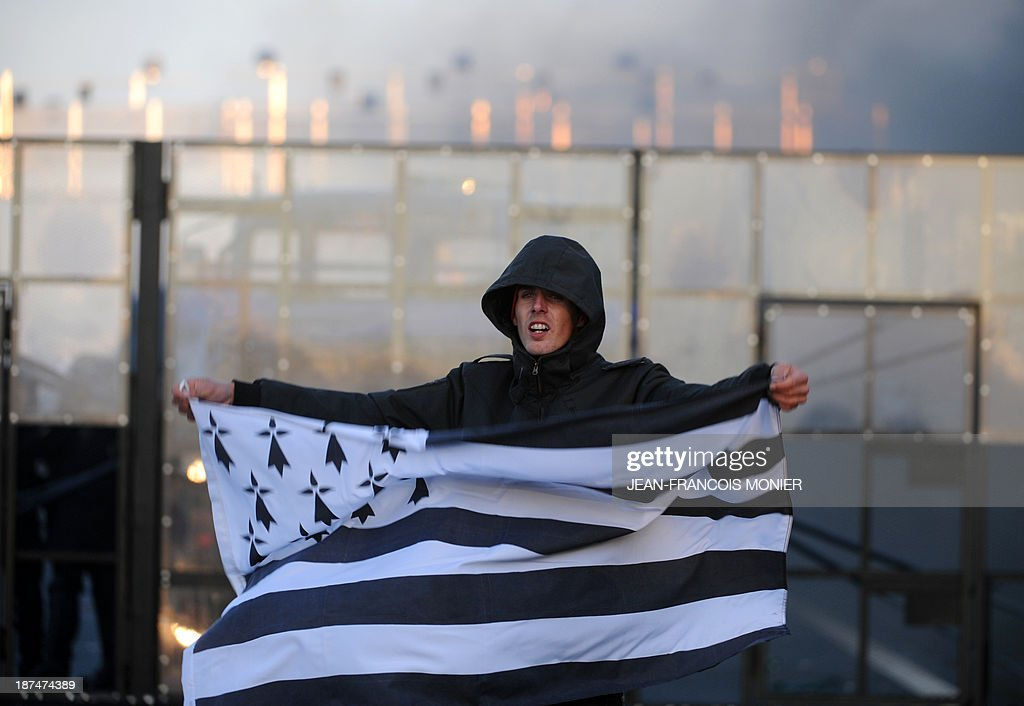 A protester holds a flag of French western region Brittany near an 'Ecotax' control portal during a demonstration against jobcuts and against the government's controversial environmental tax on heavy goods vehicles in Jugon-les-Lacs, western France, on November 9, 2013. The ecotax, aimed at encouraging environmentally friendly commercial transport, imposes new levies on French and foreign vehicles transporting commercial goods weighing over 3.5 tonnes but its implementation has repeatedly been put off.