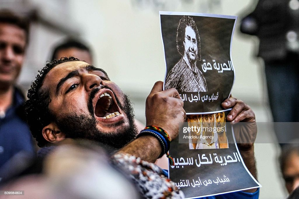 A protester is seen during a demonstration demanding the release of imprisoned journalists, in front the Press Union building in Cairo, Egypt on February 11, 2016.