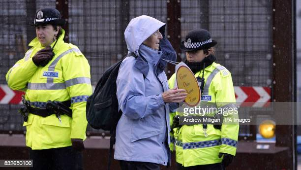 A protester outside Faslane on the River Clyde Scotland the Trident nuclear submarine base