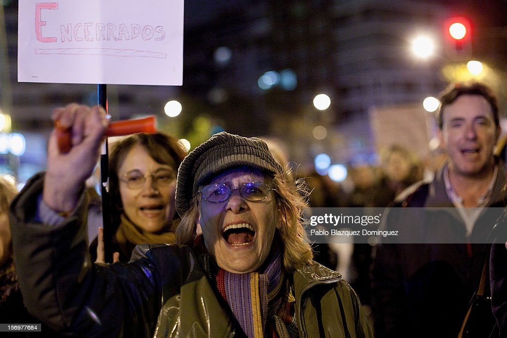 A protester shouts slogans outside La Princesa Hospital on November 26, 2012 in Madrid, Spain. Trade unions for the first time have called for a 48 hour health worker's general strike in the Madrid Region after Regional Government announced severe cuts and privatization of Medical Centers.
