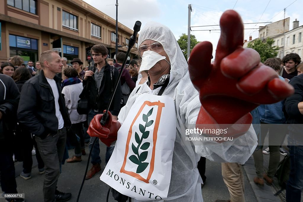 A protester wearing a protective suit and a sign of agroindustry giant Monsanto holds a pesticide sprayer on May 31, 2016, in Bordeaux, southwestern France, during a demonstration against the use of pesticides in viticulture, during the inauguration of the city's new wine museum, La Cite du Vin. / AFP / Romain Perrocheau