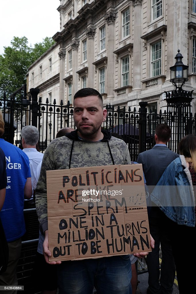 Protester with his placard at College Green in Westminster outside the Houses of Parliamant following a Leave vote, also known as Brexit as the EU Referendum in the UK votes to leave the European Union on June 24th 2016 in London, United Kingdom. Membership of the European Union has been a topic of debate in the UK since the country joined the EEC, or Common Market in 1973. It will be the second time the British electorate has been asked to vote on the issue of Britain's membership: the first referendum being held in 1975, when continued membership was approved by 67% of voters. The two sides are the Leave Campaign, commonly referred to as a Brexit, and those of the Remain Campaign who are also known as the In Campaign.