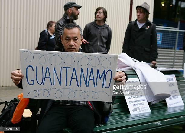 Protesters and supporters of former Guantanamo Bay detainee David Hicks gather outside NSW supreme court on August 3 2011 in Sydney Australia The...