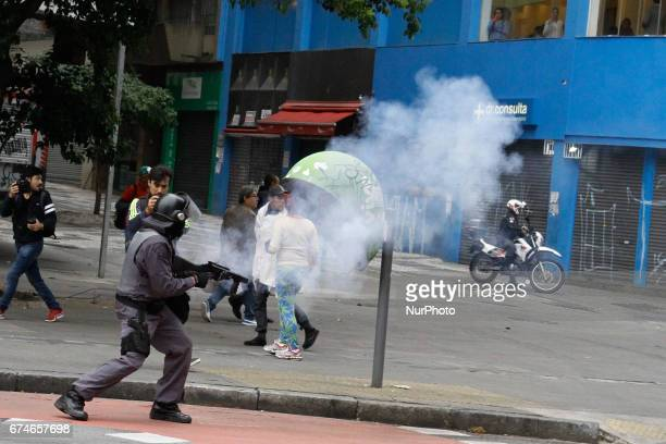 Protesters and the military police clashed during demonstrations on General Strike Day on Friday in Sao Paulo Brazil Summoned by trade union centrals...