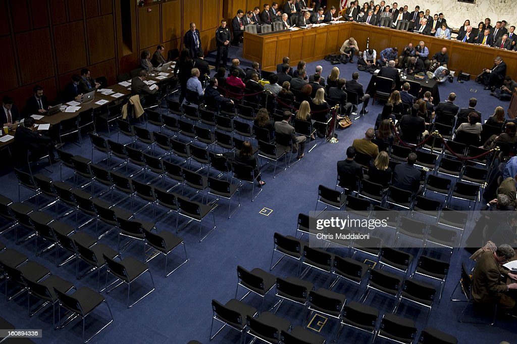 Protesters are forced to leave the nomination hearing for U.S. Assistant to the President for Homeland Security and Counterterrorism John Brennan before the Senate Intelligence Committee. The room was totally cleared of the general public after numerous protesters continue to disrupt the hearing. Brennan is expected to face harsh questioning the drone targeted killing program.