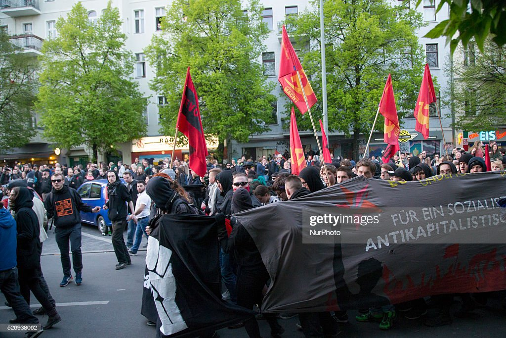 Protesters are pictured during the annual May Day demonstration in the Kreuzberg district on May 1, 2016 in Berlin, Germany. May Day, or International Workers' Day, was established as a public holiday in Germany in 1933. Since 1987 May Day has also become known in Berlin for violent clashes between police and mostly left-wing demonstrators.