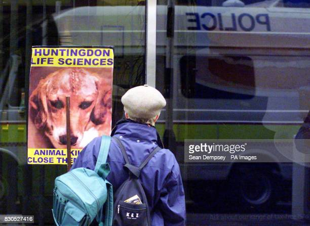 Protesters arrive in the City of London to demonstrate outside businesses which invest in the drugtesting firm Huntingdon Life Sciences The company...