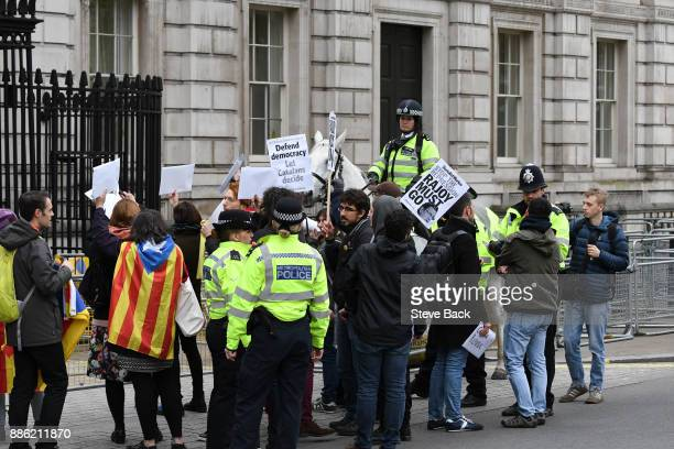 Protesters at the front gates of Downing Street stop Cars from entering as Spanish Prime Minister Mariano Rajoy Meets British Prime Minister Theresa...