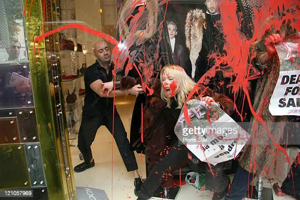 PETA protesters attack an Jean Paul Gaultier store near the Champs Elysees October 2 in Paris