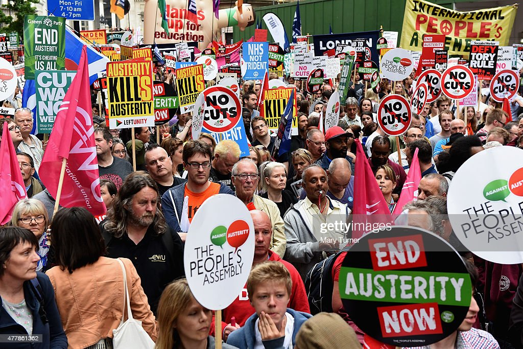 Protesters begin to gather in central London demonstrating against austerity and spending cuts on June 20 2015 in London England Thousands of people...