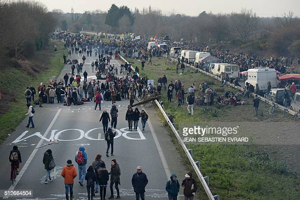 Protesters block a highway in Le TempledeBretagne during a demonstration against a controversial airport project near Nantes on February 27 2016...