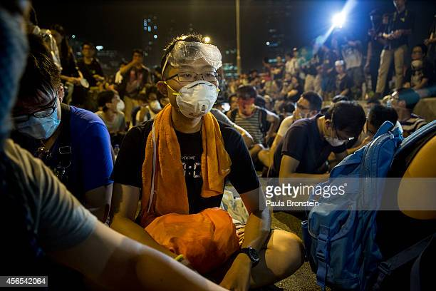 Protesters block a major road as a group sat outside the legislative government complex as the standoff continues on October 3 2014 in Hong Kong Hong...