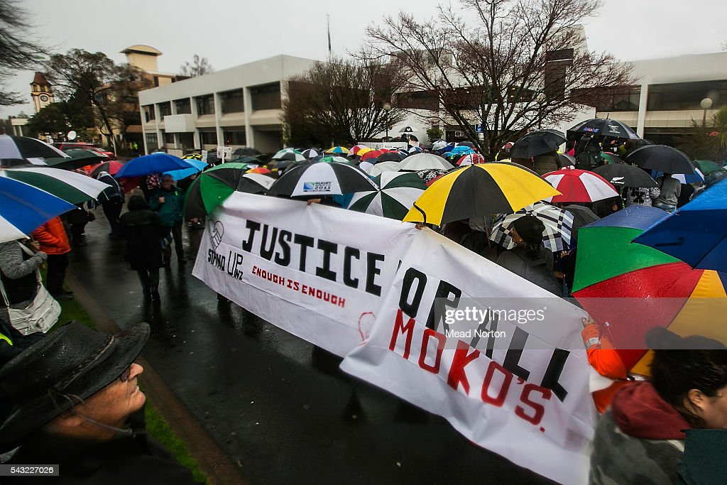Protesters block the street outside the courthouse on June 27, 2016 in Rotorua, New Zealand. Three year old toddler Moko Rangitoheriri died on August 10, 2015 from injuries he received during prolonged abuse and torture at the hands of his carers. His killers Tania Shailer and David Haerewa were sentenced at Rotorua High Court today.