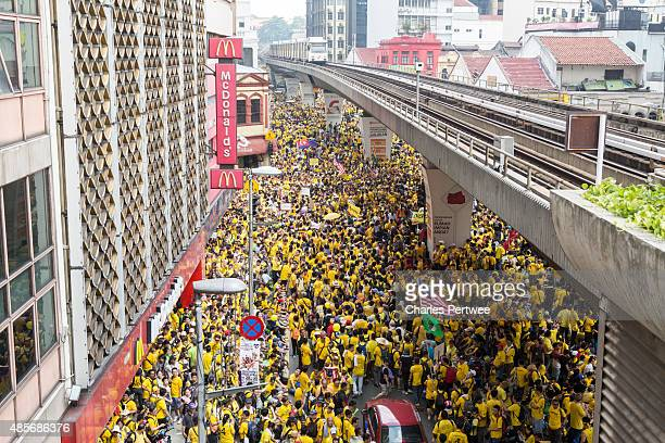 Protesters block the streets around Merdeka Square during the Bersih 40 rally on August 29 2015 in Kuala Lumpur Malaysia Prime Minister Najib Razak...