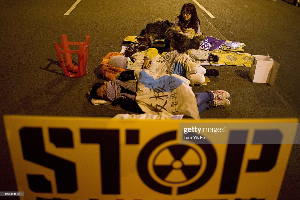 Protesters camp outside the Taiwan presidential palace on March 10, 2013 in Taipei, Taiwan. Tens of thousands of protesters took to the streets in Taiwan calling on the government to shut down the island's nuclear power plants, citing the painful lesson of Japan's nuclear crisis after a 9.0-magnitude earthquake two years ago.