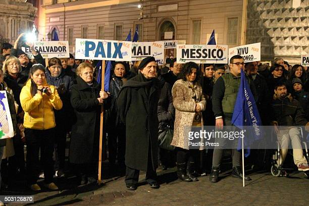 Protesters carried placards together with Cardinal Crescenzio Sepe Archbishop of Naples with the inscription of the countries that are at war