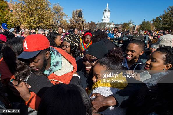 Protesters celebrate after the resignation resignation of Missouri University president Timothy M Wolfe on the Missouri University Campus November 9...