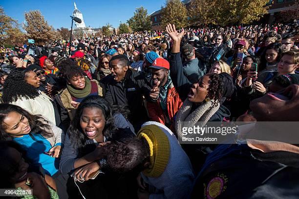 Protesters celebrate after the resignation resignation of Missouri University president Timothy M Wolfe on the Missouri University Campus November 9...