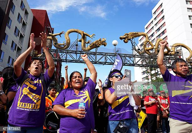 Protesters chant during a May Day rally on Friday May 1 2015 in downtown Los Angeles California Many of the protesters were calling on leaders in...