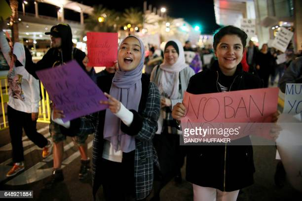 Protesters chant during a rally against travel ban at San Diego International Airport on Monday March 6 2017 in San Diego California US President...