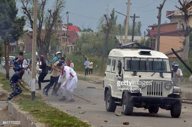 Protesters clash with Indian security forces during an antiIndia protest after Eid alAdha prayer in Srinagar the summer capital of Indian controlled...